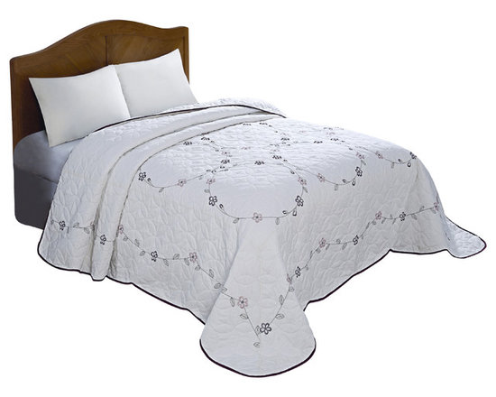 Pem America - Red Ring Embroidered Queen Bedspread - Take your bedroom in a traditional direction with our blue vine embroidered bedspread.  This pattern is a classic bedspread with a large embroidered vine ring pattern on an egg shell base.  The green embroidered vine pattern is highlighted with deep red embroidered flowers.  The face of the quilt also has a machine stitched Amish star pattern to add to the surface texture of the whole ensemble.  The entire quilt is framed burgundy piping to a crisp edge to the bed. Queen bedspread measures 102 x 118 inches. 100% polyester face and detailed embroidery. Machine washable.
