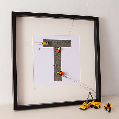 Personalised Construction Toy Letter Art by Berties modern-kids-decor