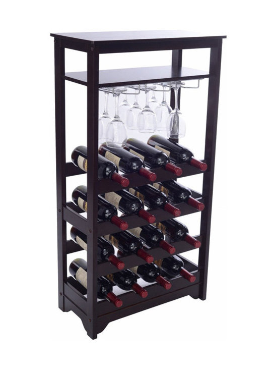None - 16-bottle Wine Rack - This wine rack is classic,practical and versatile. Made of durable engineered wood and finished in a dark espresso solid wood veneer,you can be sure this unit will look great in your living space and is compact enough for any storage area.