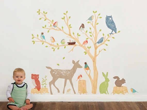 Mae wall decals earthy woodland scene modern kids wall for Modern kids fabric