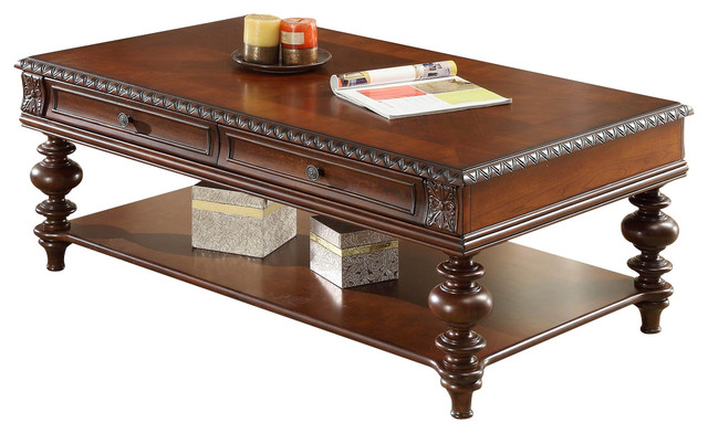 Homelegance Westfeldt 2 Drawer Cocktail Table In Rich Cherry Traditional Coffee Tables By