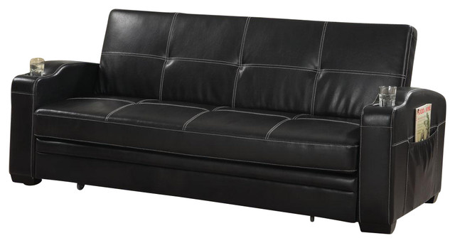 Faux Soft Leather Sofa Bed Sleeper Lounger W Storage Cup