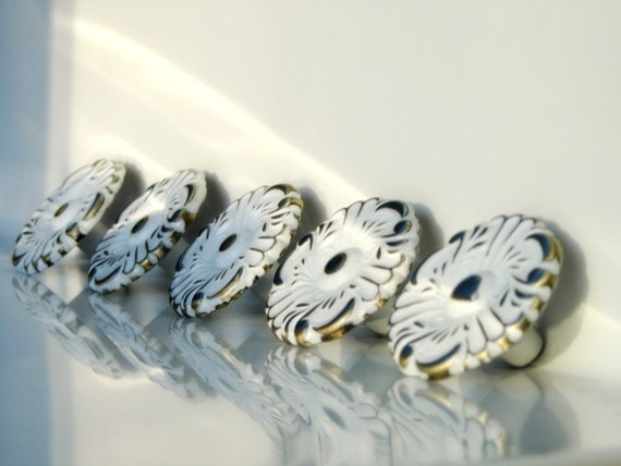 White Floral Shabby Chic Knobs, Romantic by The Door Stop traditional-cabinet-and-drawer-knobs