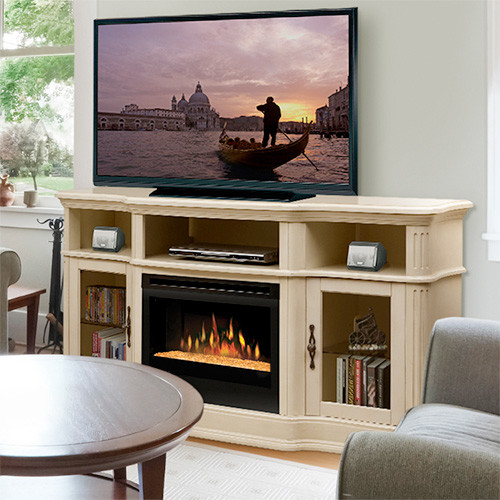 Portobello parchment electric fireplace entertainment center with glass embers contemporary - Contemporary electric fireplaces entertainment center ...