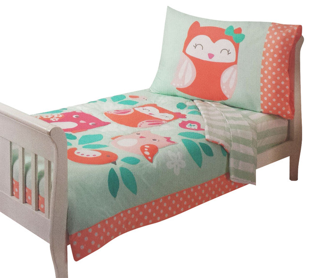 Toddler bedding set too cute to hoot contemporary toddler bedding