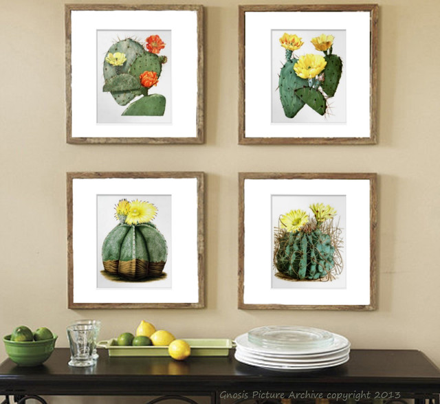 Wall Art Prints Set of 4 Flowering Southwestern Cacti (Cactus) contemporary-artwork