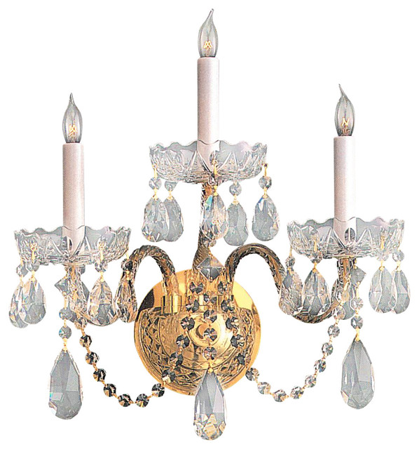 Crystorama Traditional Crystal Wall Sconce in Polished Brass - Traditional - Wall Sconces - by ...