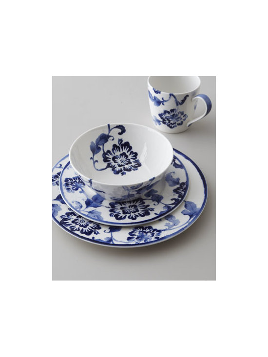 "Lauren Ralph Lauren - Lauren Ralph Lauren Four-Piece ""Somerset Island"" Floral Dinnerware Place Setting - An bold floral design in cobalt blue against bright white adds dimension to this dinnerware. Use it alone or mix and match with ""Somerset Island Woven"" dinnerware. The possibilities are endless. Made of porcelain. Dishwasher and microwave safe. Four-..."