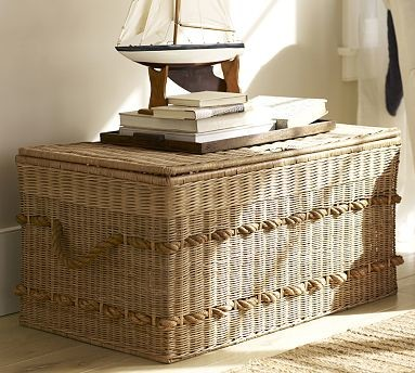Woven Trunk with Rope Handles traditional-decorative-trunks