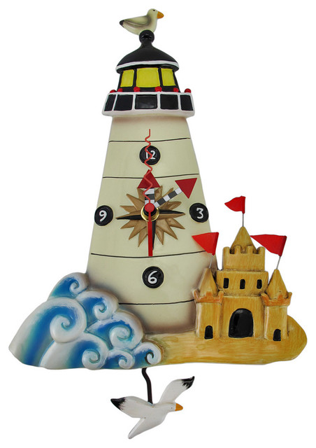 Allen Designs 'Light House' Nautical Pendulum Wall Clock eclectic-wall-clocks