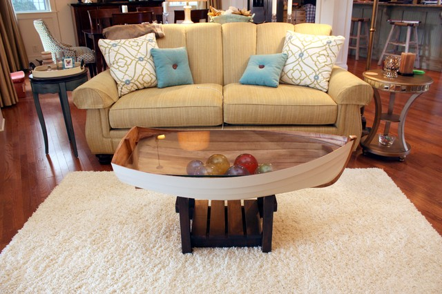 0210: Row boat coffee table w/outboard motor, a custom- |Dinghy Coffee Table