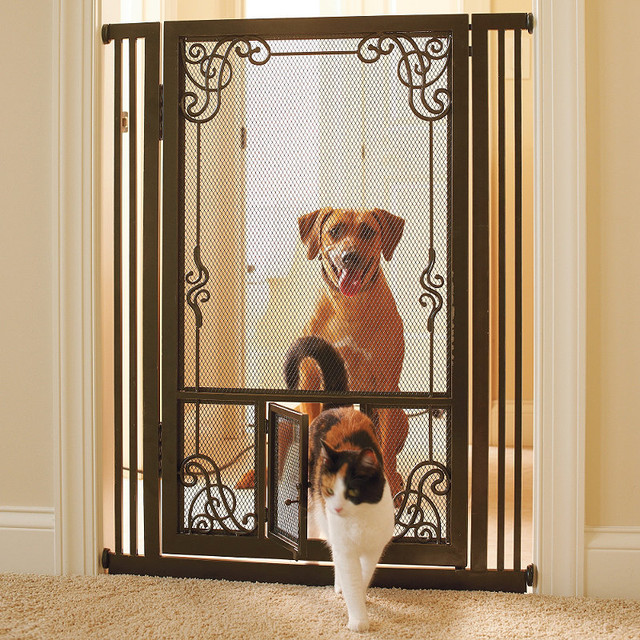"""42""""H Tension-mount Dual Door Steel Mesh Pet Gate Dog Gate - Traditional - Dog Gates - by FRONTGATE"""