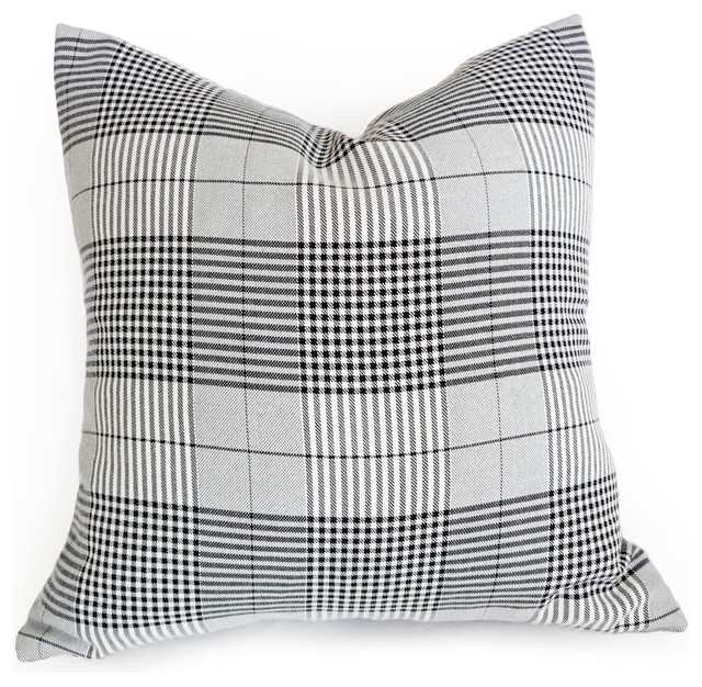 Modern Plaid Pillow : Plaid Pillow in Modern Black White Grey - Modern - vancouver - by PillowThrowDecor