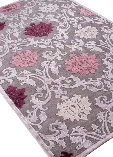 Machine Made Floral Pattern Art Silk Chenille Gray Purple