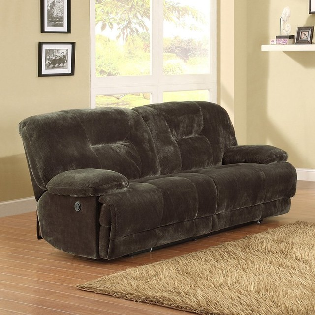 Clifton Dual Power Reclining Sofa - Brown - 9723-3PW contemporary-furniture