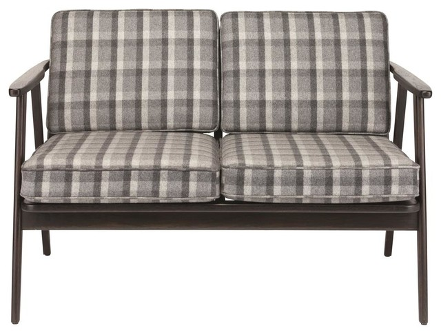2 Seater Sofa In Gray Plaid Contemporary Sofas By Shopladder