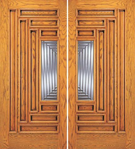 Modern Exterior Double Door, 9 Panel 1 Lite, Solid Mahogany traditional-front-doors