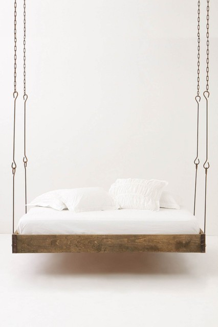 Barnwood Hanging Bed eclectic beds