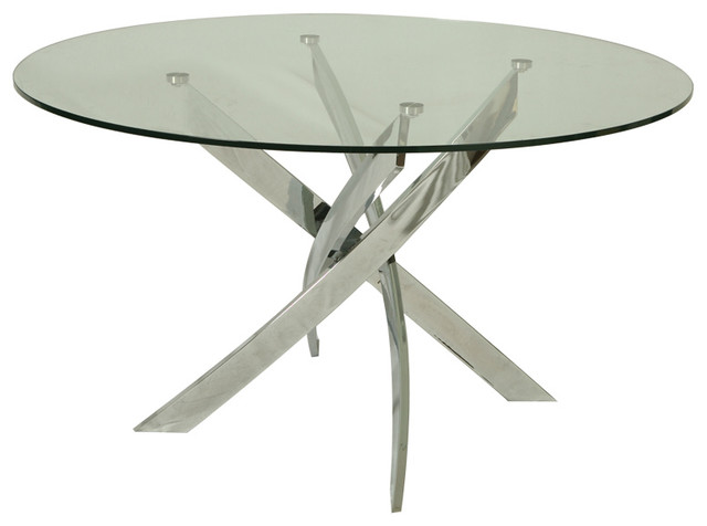 Round Glass Dining Table With Chrome Base Traditional Dining Tables