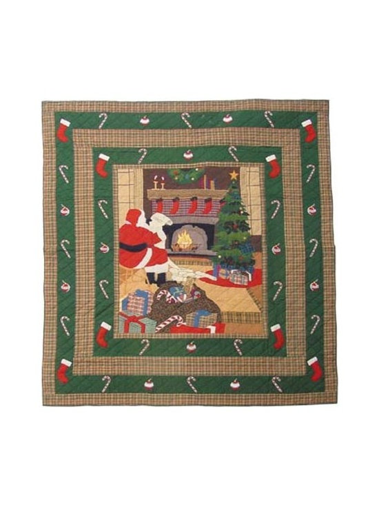Patch Quilts - Santa by the Fireside King Quilt - -Constructed of 100% Cotton  -Machine washable; gentle dry  -Made in India Patch Quilts - QKSBFS