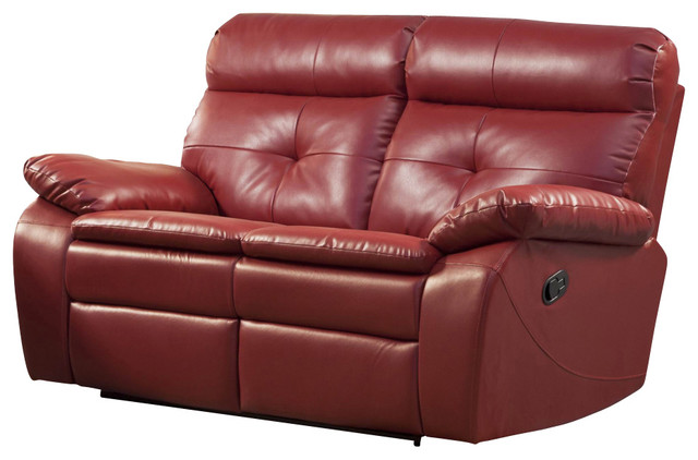 Homelegance Wallace Leather Double Reclining Loveseat In Red Traditional Loveseats By