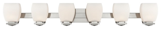 Possini Euro Brushed Nickel 6-Light Bathroom Wall Light contemporary-bathroom-lighting-and-vanity-lighting