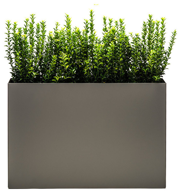 Modern Trough Planter - Pewter, Low modern-outdoor-pots-and-planters
