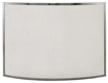 Curved Pewter Screen contemporary-fireplace-accessories