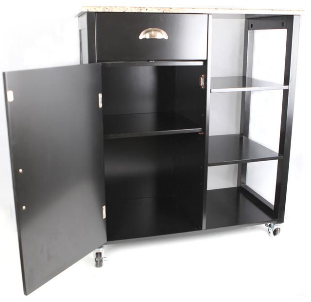Khome Black Finish Wood & Marble Vinyl Top Kitchen Storage Cabinet Cart - Contemporary - Kitchen ...