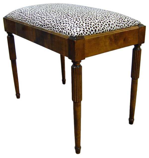 Swedish Art Deco Flame Birch Bench, Snow Leopard Cowhide traditional-upholstered-benches