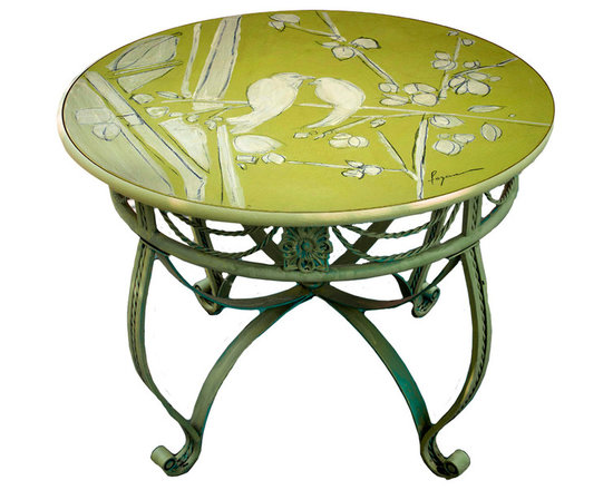 """Hand Painted Bistro Table Top, 24"""" Lime Green, Love Birds Cherry Blossom -"""