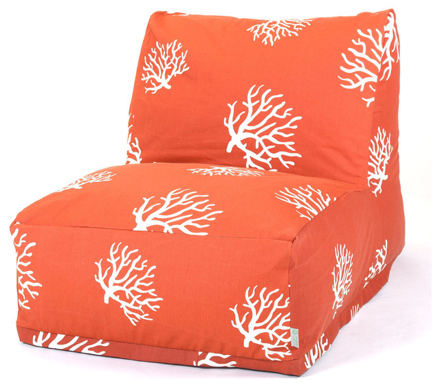Outdoor burnt orange coral bean bag chair lounger modern for Burnt orange chaise lounge