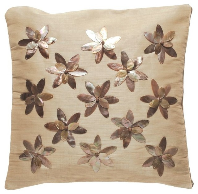Decorative Pillow Cover with Brownlip Seashell and Beads