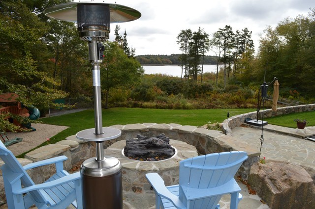 Backyard Oasis for Colonial Style Home rustic-fire-pits