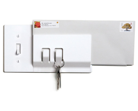 Walhub - 1Keeper Light Switch Cover With Hooks - Don't be late because you can't find your keys. This light switch cover has two hooks to hold your keys and a mail clip integrated into its design. Now everything is at your fingertips as you walk out the door.