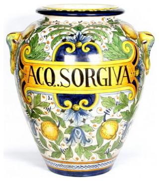 "Majolica: Large Orcio ""Aq. Sorgiva"" (Spring Water) mediterranean-vases"