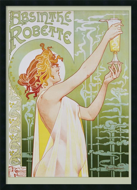 Absinthe Robette Framed with Gel Coated Finish traditional-prints-and-posters