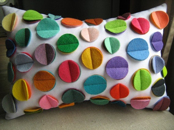 Multicolor Rainbow Felt Disc Pillow by DeDe eclectic kids decor