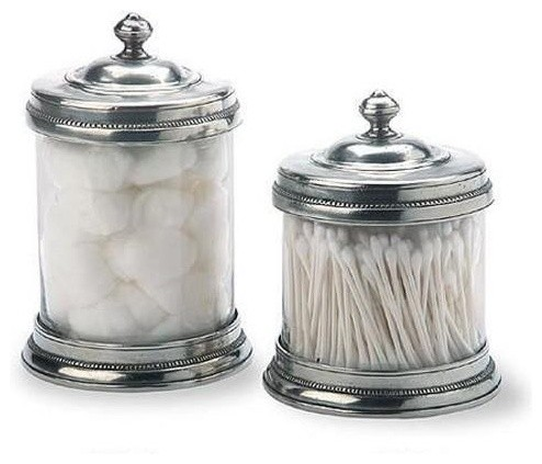 Pewter And Glass Canisters By Match Of Italy eclectic bathroom storage
