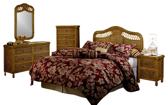 west indies tropical rattan and wicker 5 piece bedroom