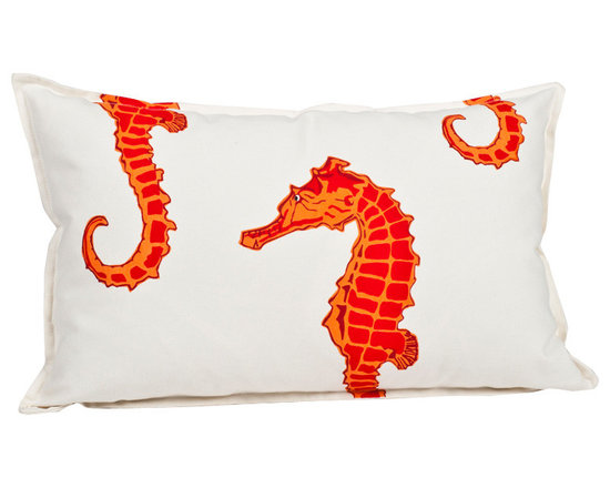 ecoaccents Orange Seahorse Rectangle Cotton Canvas Pillow