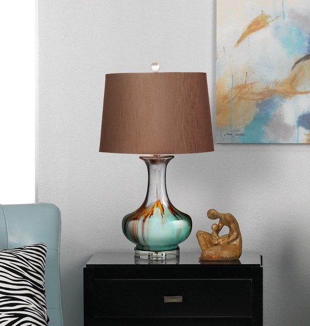 Hyde Brown And Cyan Blue Ceramic Table Lamp - Transitional - Table Lamps - new york - by ...