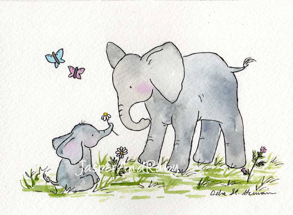 Elephant nursery art print by jasper and ruby for Elephant mural nursery