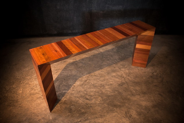 Unique Handmade Mid Century Modern Mixed Wood Triangle Console Table, Sofa Table contemporary-console-tables