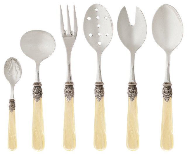 Rosanna Napoleon Pearlized Ivory 6-Piece Hostess Set contemporary-serving-dishes-and-platters