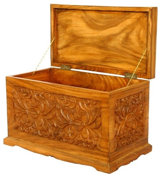 23 in wood storage chest contemporary decorative - Decorative trunks and boxes ...