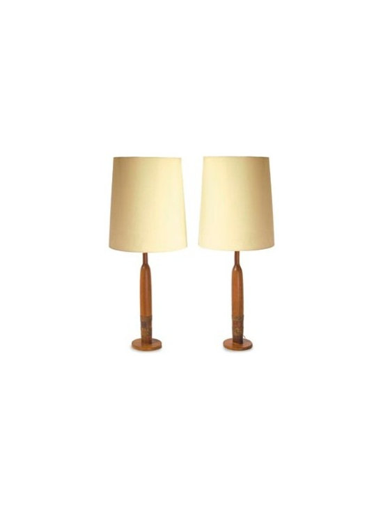 Pair of Vintage Teak Lamps -