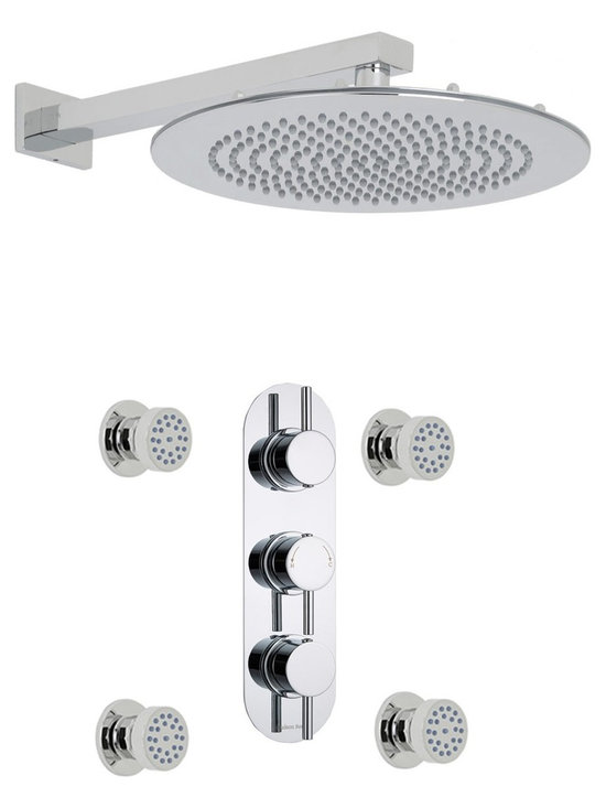 """Hudson Reed - Quest Thermostatic Shower System, Round Head & Arm & Round Jet Sprays - Enhance your contemporary bathroom and enjoy a sensational showering experience with the Quest thermostatic shower system from Hudson Reed. This shower system comes complete with the 12 fixed shower head and arm, thermostatic shower valve and four massaging body jets.Designed to supply water at a pre-set maximum temperature, the British made thermostatic shower valve features a built-in anti-scald device for complete peace of mind, as well as ceramic disc technology for smooth and precise control. Hudson Reed Thermostatic Triple Shower Valve Details   Solid brass rough-in valve Made in Great Britain Serviceable check valves and strainers Ceramic Disc Technology Pre-set maximum temperature 104ºf Automatic anti scald device Recommended pressure for best performance 2 to 75 psi  ½ NPT Inlets and Outlets Compatible with standard US plumbing connections Compatible with combi boilers, gravity fed systems, unvented mains pressure systems and for shower pumps Warranty: 10 years  Hudson Reed Round Body Jet Details   Chrome finish Sliding collar IAPMO approved 1/2 NPT inlet Easy clean nozzles 9.5L/min 2.5gpm regulator installed Made from solid brass Single spray pattern  Hudson Reed 12 Round Shower Head Details   IAPMO Approved 1/2 NPT inlets Chrome finish Easy clean nozzles 9.5L/min 2.5gpm regulator installed Supplied with 14 arm  Shower Consists of:     UFG-HR721Triple Valve Body Only Concealed  UFG-HRPS715Slim Triple Racetrack Trim Plate  UFG-HRH701Round Thermostatic Handle with Lever  UFG-HRH702Round Flow Control Handle with Lever  UFG-HRBT701Round Sheer Body Jet  UFG-HRSH703Round Fixed Head 12""""  UFG-HRAM702Small Rectangular Arm 14"""""""