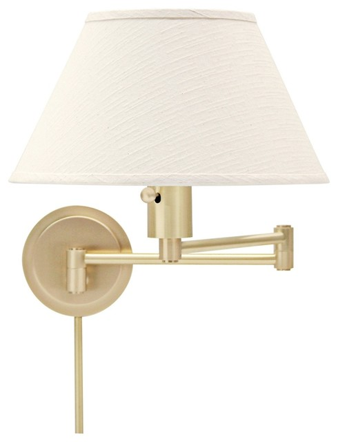 Contemporary Plug In Wall Sconces : Contemporary House of Troy Satin Brass Plug-In Swing Arm Wall Lamp - Contemporary - Wall Sconces ...