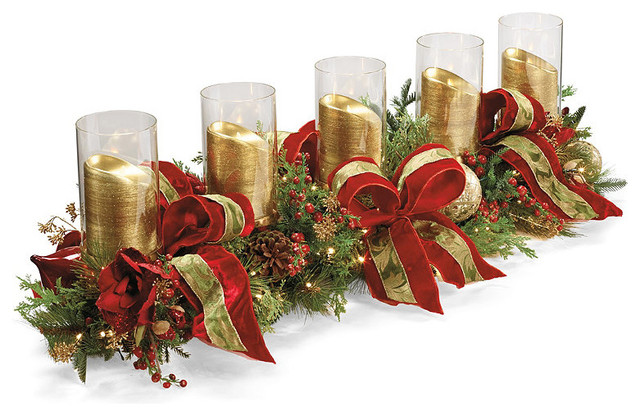 Christmas joy decorated candle holder frontgate for Christmas candle displays